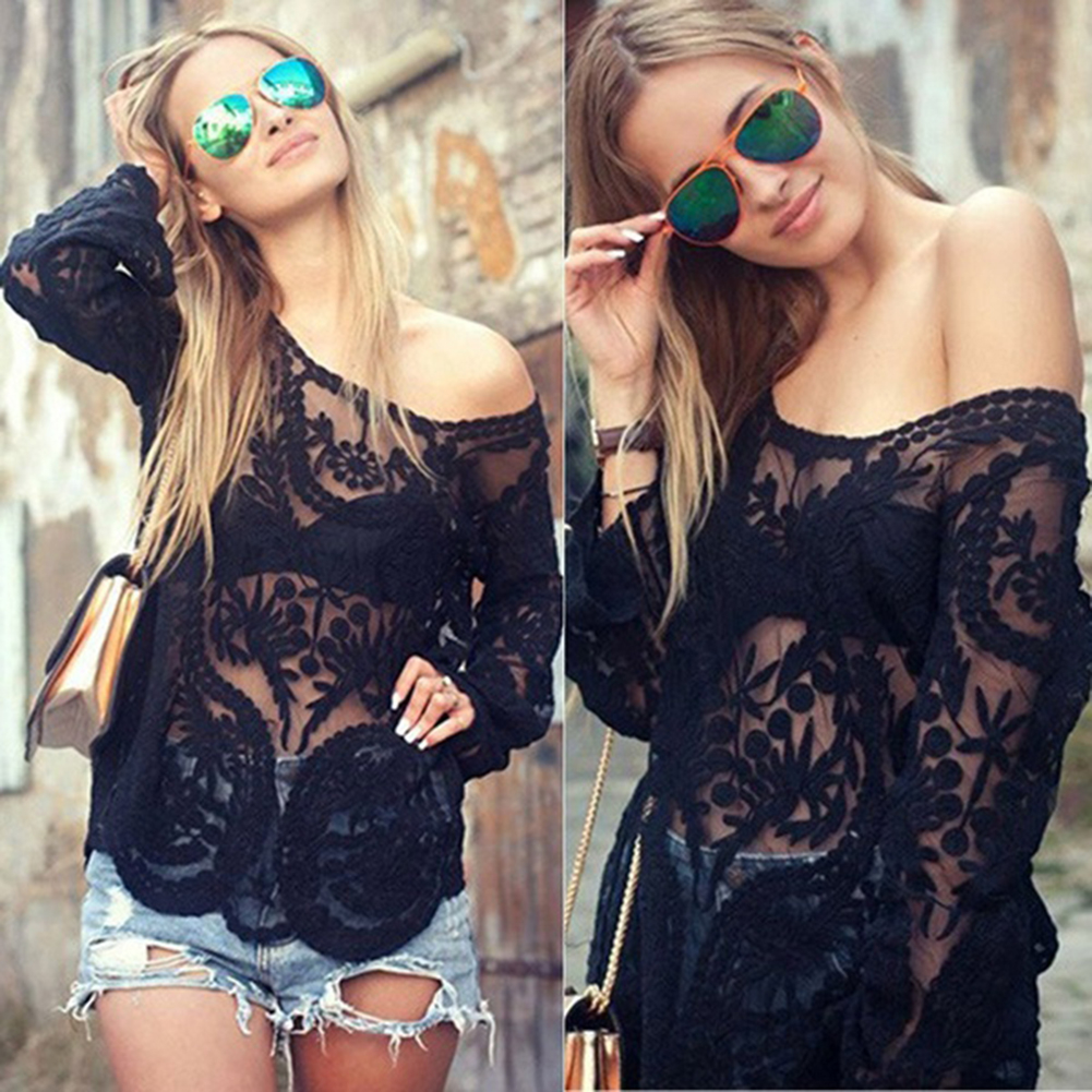 Women Sexy Flower Lace See Through Long Sleeve Solid Color Blouse Casual Top
