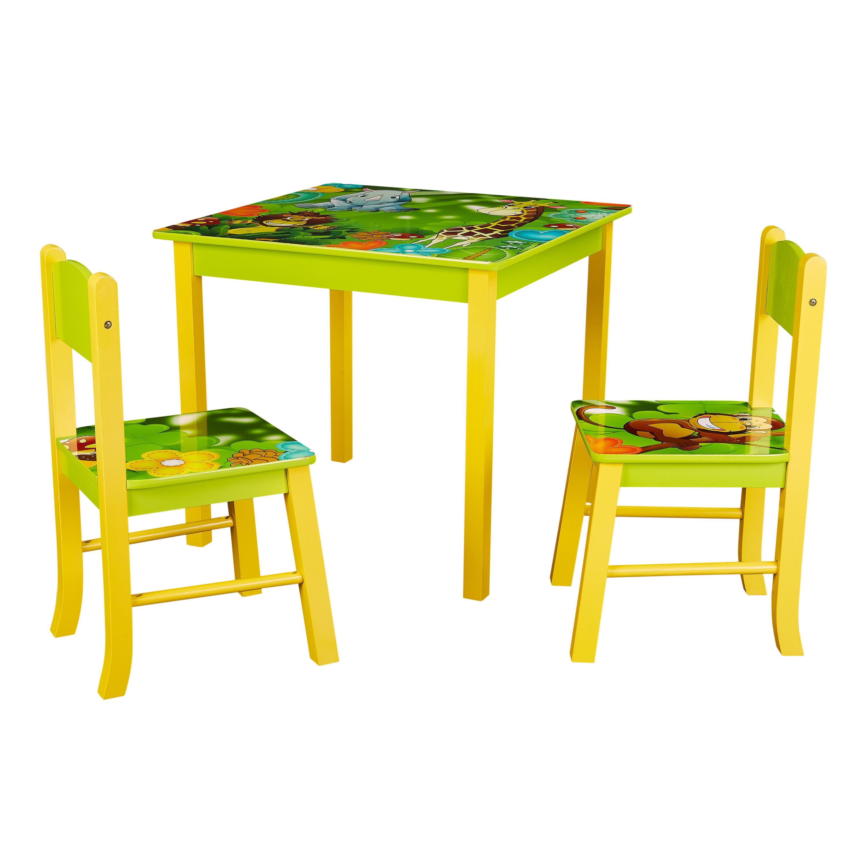 Senda Kids' Jungle Table and Chairs, 3 Piece Set