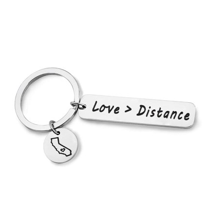 Myospark Long Distance Relationship Keychain Love Is Greater Than Distance Keyring Boyfriend Gift Girlfriend Gift Going Away Gift State