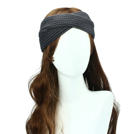 Women Winter Ear Warmer Headwrap Double Color Headband Knit Flower Hairband (Flower Headband)
