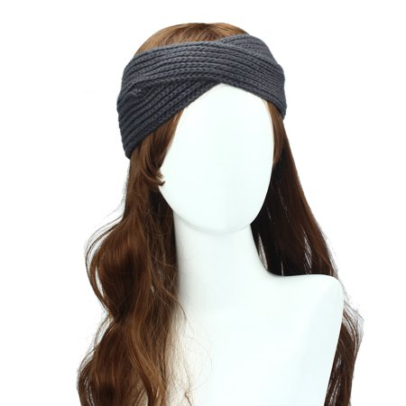 Women Winter Ear Warmer Headwrap Double Color Headband Knit Flower Hairband ()
