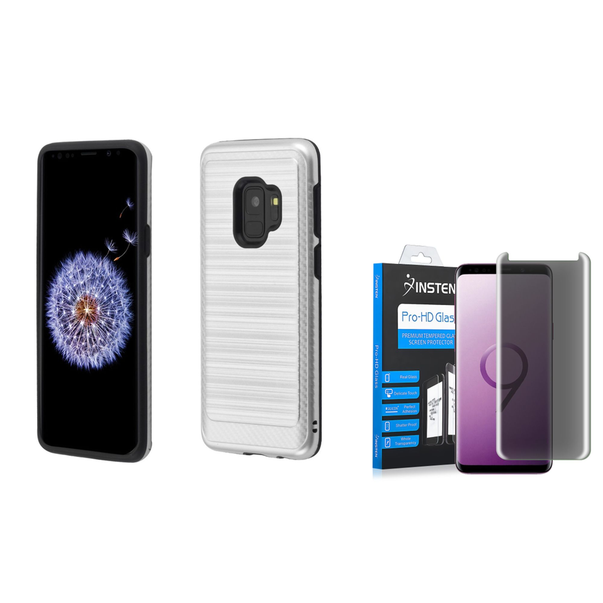 Galaxy s9 case and screen protector privacy glass by Insten Carbon Fiber 2-Layer Hybrid Brushed Hard Plastic/Soft TPU Rubber with Card Slot Phone Case Cover For Samsung Galaxy S9, Silver/Black