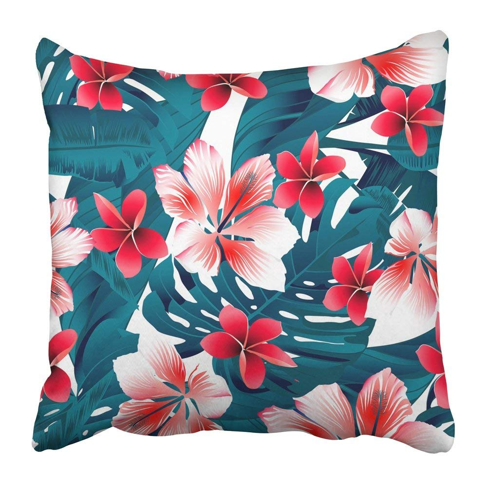BPBOP Hawaiian Red and White Tropical Hibiscus Flowers Dress Beautiful Fern Floral Frangipani Leaves Lush Pillowcase Pillow Cover 20x20 inches
