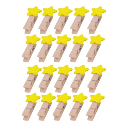 Family Wooden Star Shaped Handcraft Photo Picture Peg Clip Clamp Yellow 20pcs (Picture Peg)