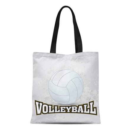 Ball Beach Circle (ASHLEIGH Canvas Tote Bag Blue Sport White Volleyball Activity Ball Beach Black Circle Reusable Shoulder Grocery Shopping Bags Handbag )