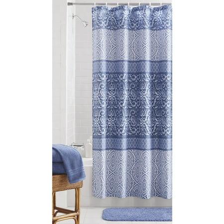 Mainstays Indigo Patch Fabric Shower Curtain