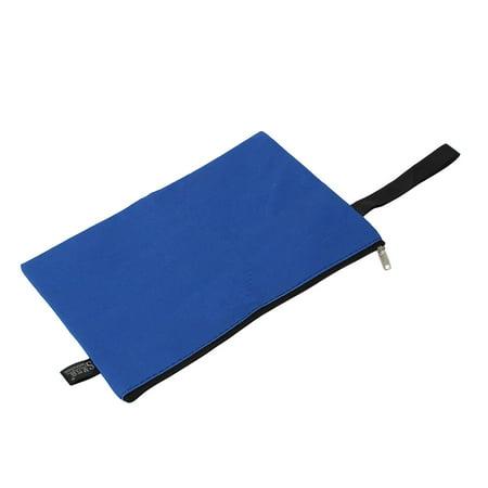 Unique Bargains Office School Zipper Closure Document File Pen Bag Holder Organizer Pouch Blue