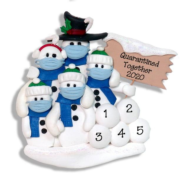 Covid 19 Snowman Family Of 5 With Face Masks Pandemic Corona Virus Personalized Christmas Ornament Walmart Com Walmart Com