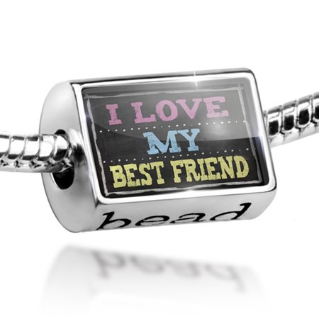 Bead Chalkboard with I Love my Best Friend Charm Fits All European