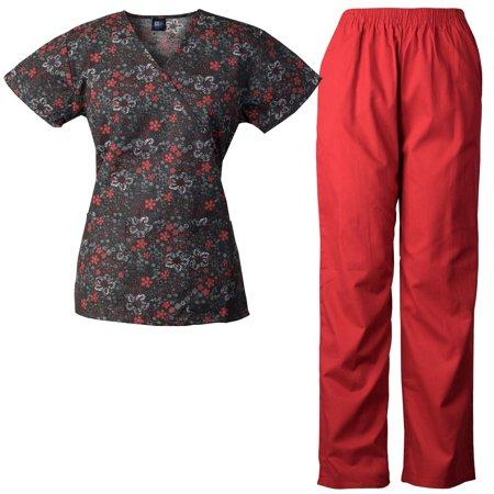 Medgear Womens Scrubs Set, Scrubs Print Top & Elastic Pants 109-802 -  Walmart.com