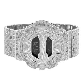 14k White Gold Finish DW6900 G Shock Mens Iced Out Metal Band Digital Watch CZ