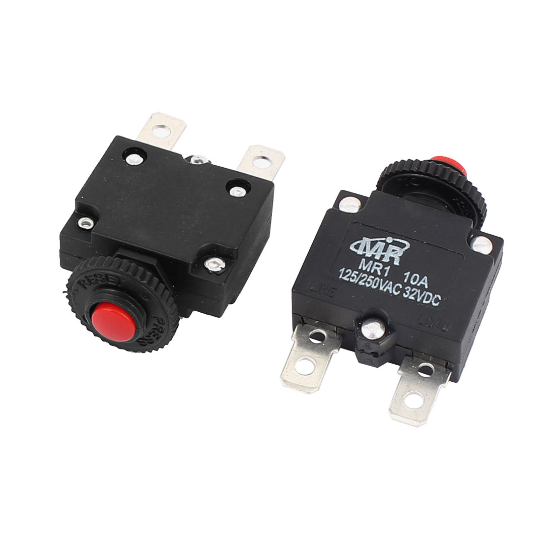 Unique Bargains  125V/250V 10A Red Reset Button Overload Protector Circuit Breaker 2Pcs