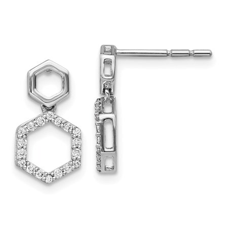 8mm 14k White Gold Diamond Fancy Hexagon Post Dangle Earrings - .20 dwt
