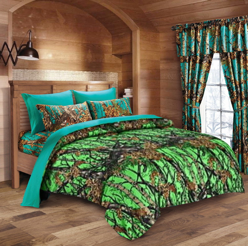 Bio Green Camo Comforter and Forest Camo Sheet Set [Color: Purple /Forest,Size: Full]