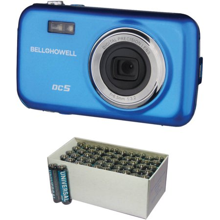Bell+Howell Blue Fun-Flix DC5 Kid's Digital Camera with 5 Megapixels and UPG D5323/D5923 Super-Heavy-Duty Battery Value Box (AAA; 50-Pack)