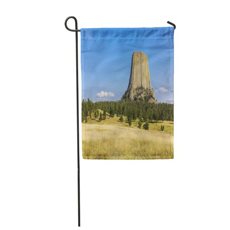 KDAGR Blue Attraction Devils Tower in Natural Landscape Wyoming USA Colorful Bear Garden Flag Decorative Flag House Banner 12x18 inch