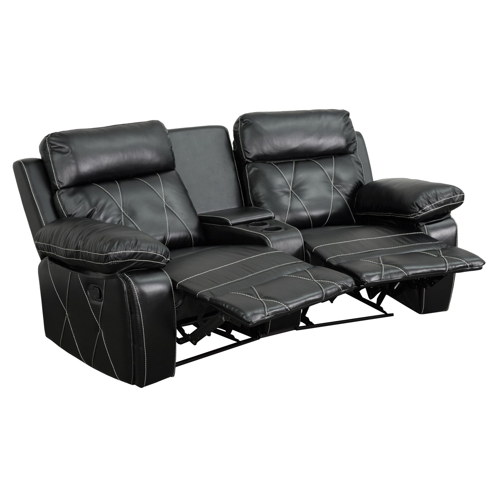 Flash Furniture Reel Comfort Series 2-Seat Reclining  Leather Theater Seating Unit with Curved Cup Holders