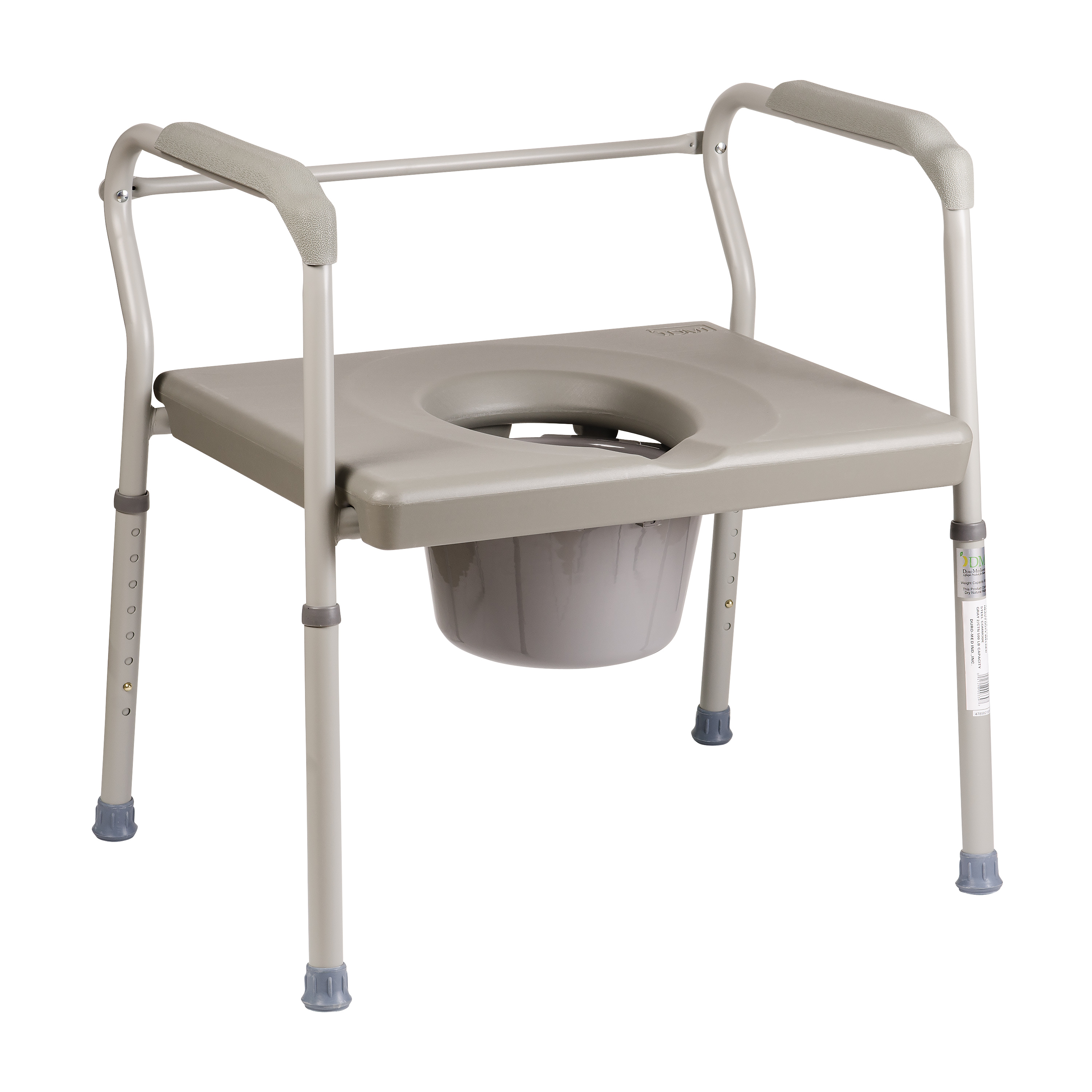 DMI Heavy Duty Bariatric Portable Bedside Commode, Toilet Safety Frame, Raised Toilet Seat, Extra Wide, Adjustable Legs, Gray