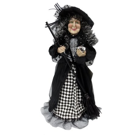 Halloween Fabric Cone Witch With Black and White