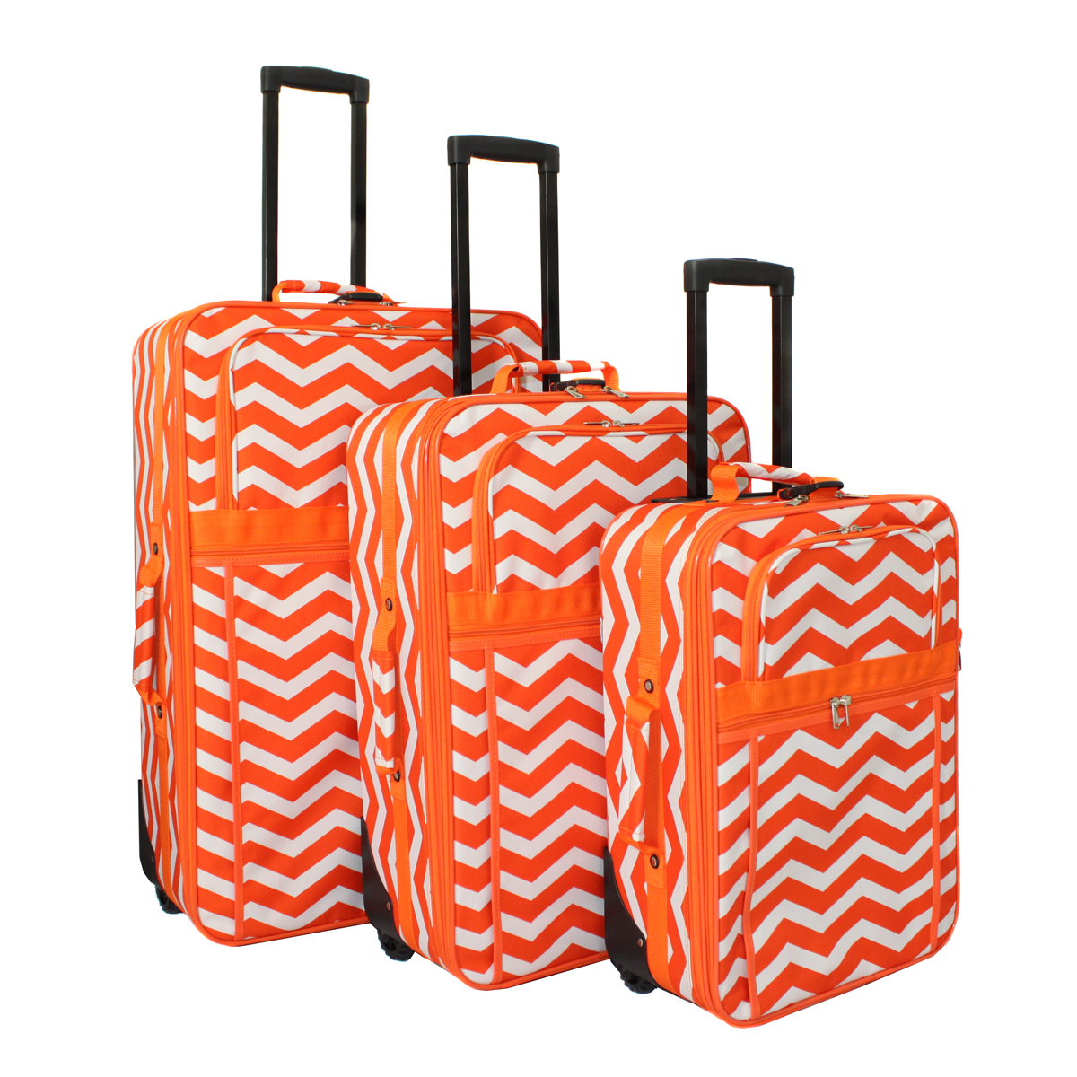 All-Seasons ZigZag Prints 3-Piece Expandable Upright Luggage Set
