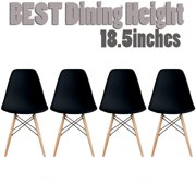 2xhome Set of 4 Black Mid Country Modern Molded Shell Designer Assemble Plastic Chair Side No Arms Wheels Armless Chairs Natural Wood Wooden Eiffel for Dining Room Bedroom Kitchen Accent Office DSW