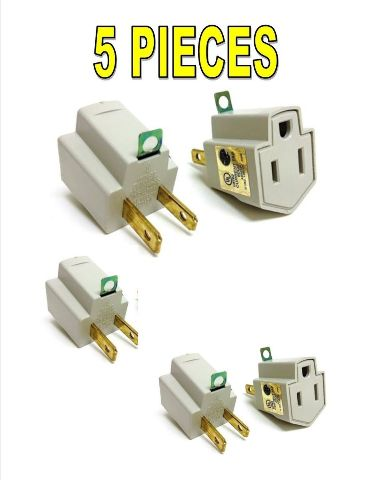 5 Pieces Electrical Ground Adapter 2 Prong Outlet to 3 Prong Plug AC UL LISTED by Nippon America