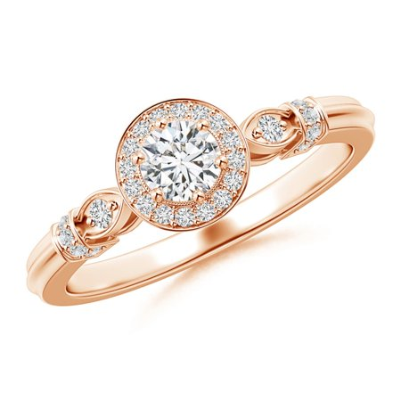 April Birthstone - Vintage Diamond Circle Ring with Diamond Shoulders in 14K Rose Gold (Weight: (Circle Rose Ring)