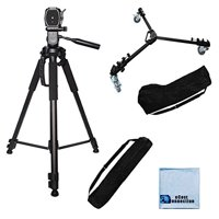 """72"""" Inch Elite Series Full Size Camcorder Tripod + Elite Series Professional Universal Tripod Dolly w/ One Step Easy Lock & Locking Wheels for Canon Cameras + eCostConnection Microfiber Cloth"""