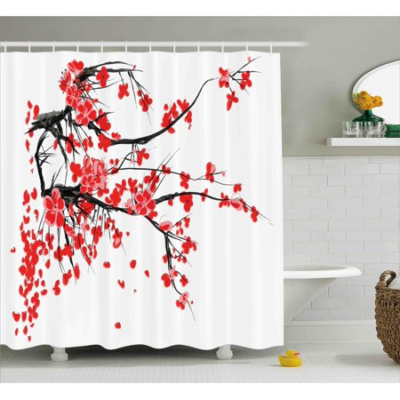 Floral Shower Curtain  Japanese Cherry Blossom Sakura Blooms Branch Spring Inspirations Print  Fabric Bathroom Set With Hooks  69W X 75L Inches Long  Vermilion Brown White  By Ambesonne