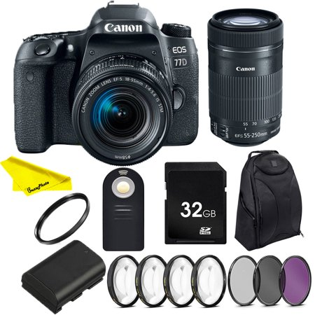 Canon EOS 77D DSLR Camera with 18-55mm IS STM & 55-250 IS STM Lenses + SD Card + Buzz-Photo Photographers