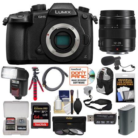 panasonic lumix dc-gh5 wi-fi 4k digital camera body with 35mm t/1.5 cine lens + 64gb card + case + led light + microphone + kit