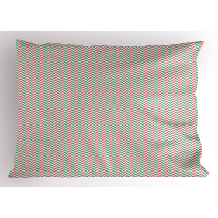 - Geometric Pillow Sham Vertical White Stripes Different Colored Diagonal Lines Repeating Pattern, Decorative Standard Size Printed Pillowcase, 26 X 20 Inches, White Teal Pink, by Ambesonne