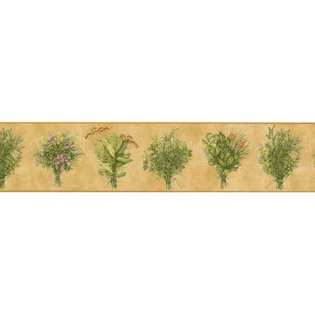 - Retro Art Plants Flowers Floral for 15' x 5.25'' Wallpaper Border