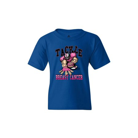 Shop4Ever Youth Tackle Football Player Breast Cancer Awareness Graphic Youth T-Shirt ()