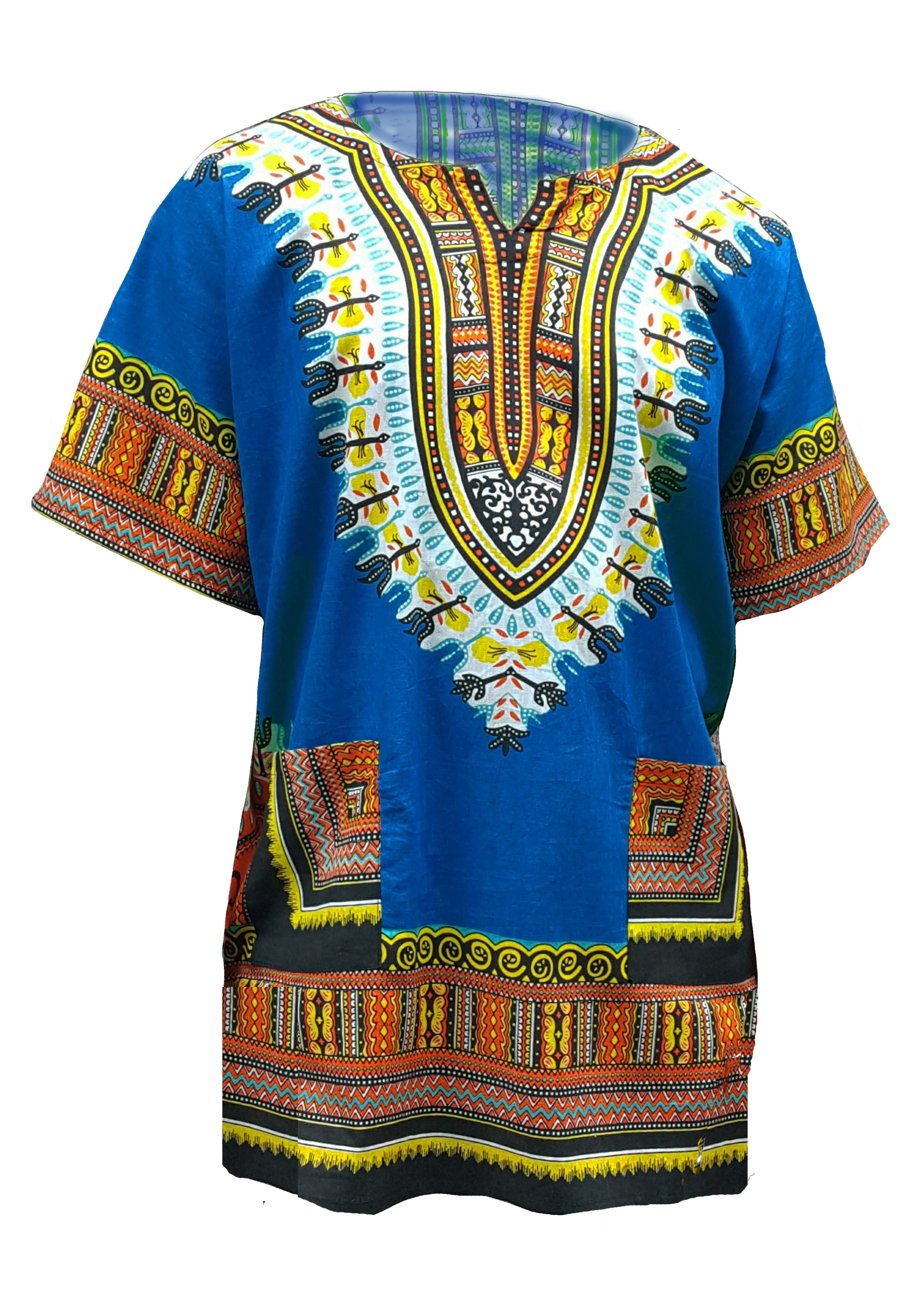 00e6d3ede3e Dupsies - Blue African Print Dashiki Shirt from S to 7XL Plus Size -  Walmart.com