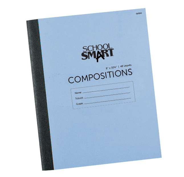 School Smart Stitched Cover Composition Book, Red Margin, 8 x 10-1/2 Inches, 96 Pages
