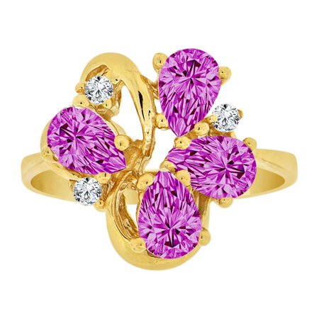 Pear Cluster Ring - 14k Yellow Gold, Classic Pear Shape Cluster Ring Violet CZ Feb Synthetic Birthstones Size 7