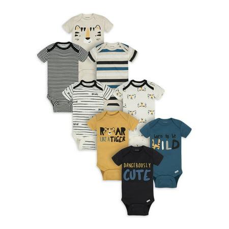Onesies Brand Baby Boy Short Sleeve Bodysuits, 8-Pack Guard Infant Onesie