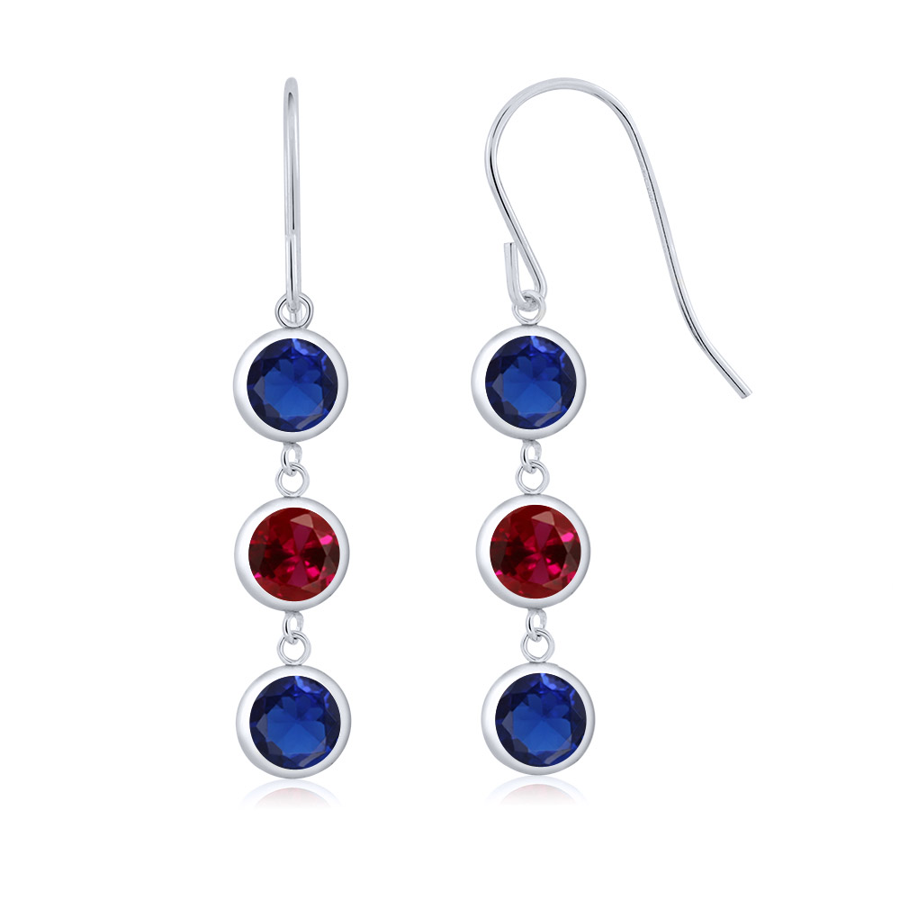 3.40 Ct Round Blue Simulated Sapphire Red Created Ruby 925 Silver Earrings