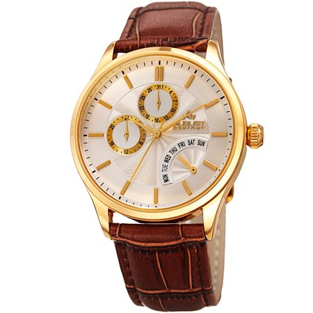 Men s Multifunction Dual Time Retrograde Gold-Tone/ Brown Leather Strap Watch