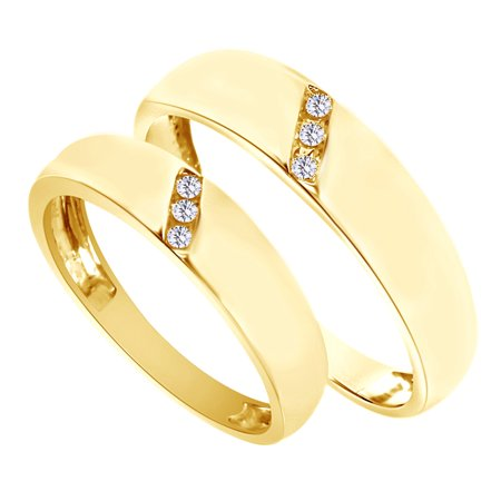 Jewel Zone Us White Natural Diamond His And Hers Wedding Band Set In 14k Yellow Gold 0 1 Cttw By