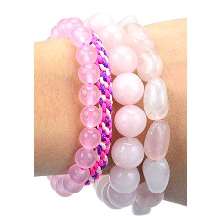 Quality Tumble Round Pink Rose Quartz Crystal Pink String Adjustable Stretch Bracelets – Healing Love Energy – Women – Set of 4](Cool String Bracelets)