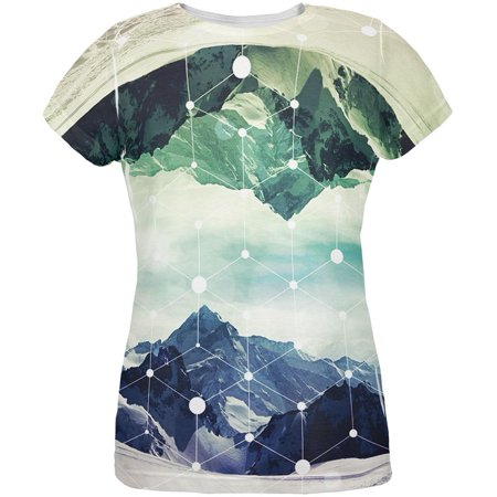 Geometric Mountains All Over Womens T Shirt