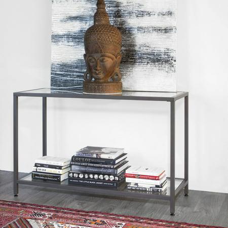 "Home Camber Modern Glass Console Table 47"" Gray - Studio Designs"