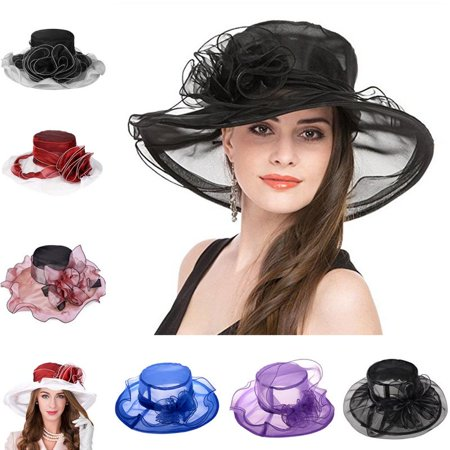 Womens Sun Hat-Fitbest Women Sun Hat Organza Kentucky Derby Fascinator Lady Cocktail Tea Party Church Wedding Bridal Flower Hat - Wholesale Derby Hats