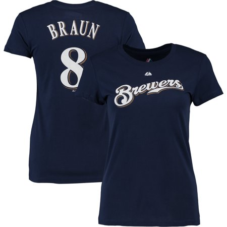 Ryan Braun #8 Milwaukee Brewers Majestic Women's Name & Number T-Shirt - Navy