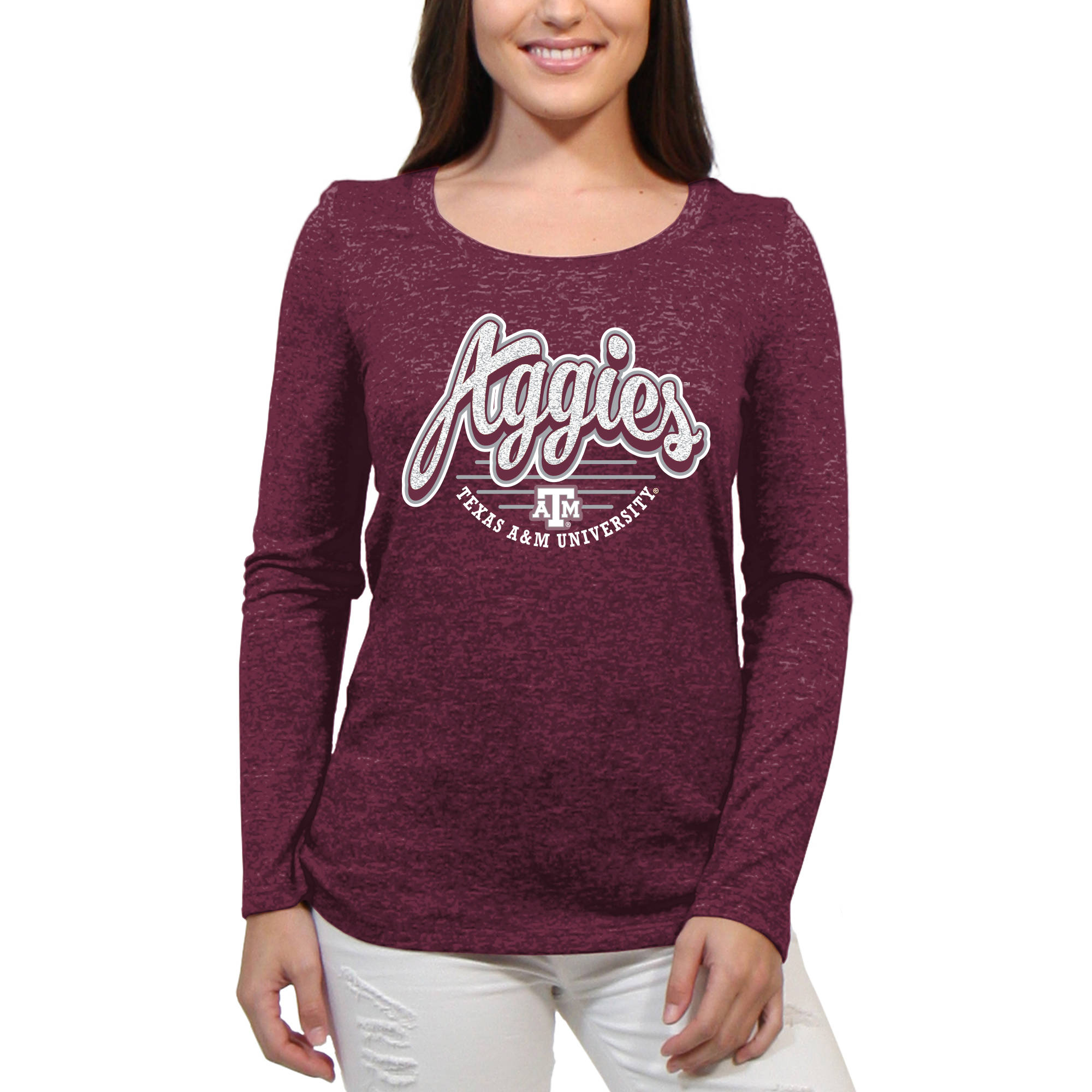 Texas A&M Aggies Funky Script Women'S/Juniors Team Long Sleeve Scoop Neck Shirt