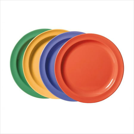 Creative Table 6.5 inch Round Plate Mix Pack of 4 Mardi Gras Colors Melamine/Case of 48 (First Rounds Mix)