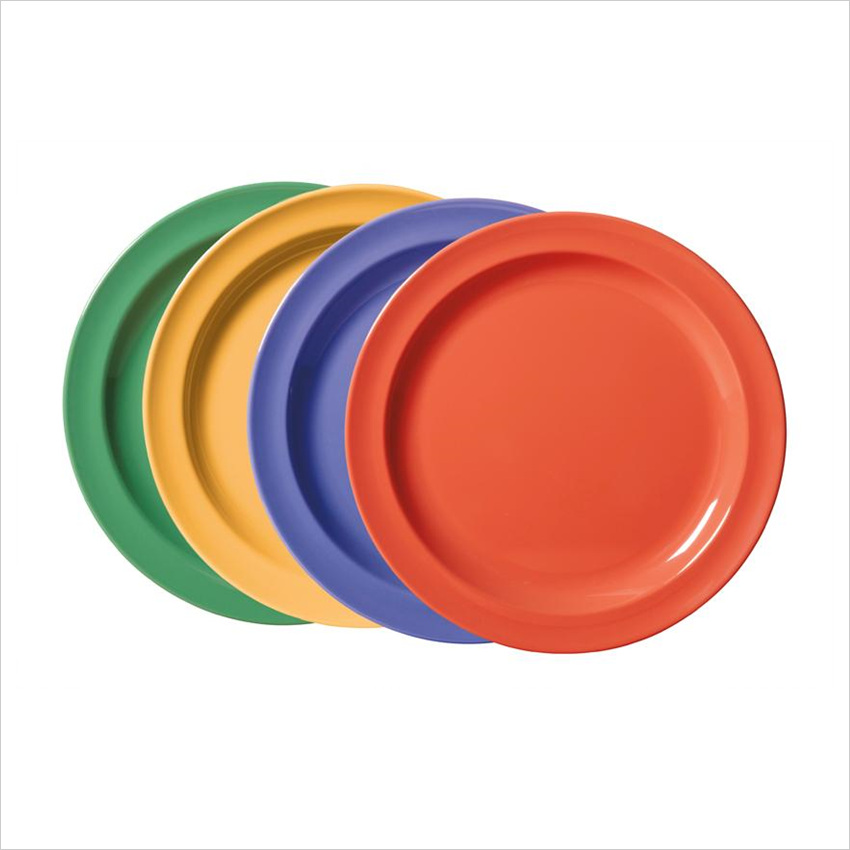 Creative Table 6.5 inch Round Plate Mix Pack of 4 Mardi Gras Colors Melamine/Case of 48