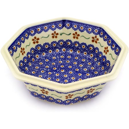 Polish Pottery 7¼-inch Octagonal Bowl (Sweet Red Flower Theme) Hand Painted in Boleslawiec, Poland + Certificate of Authenticity